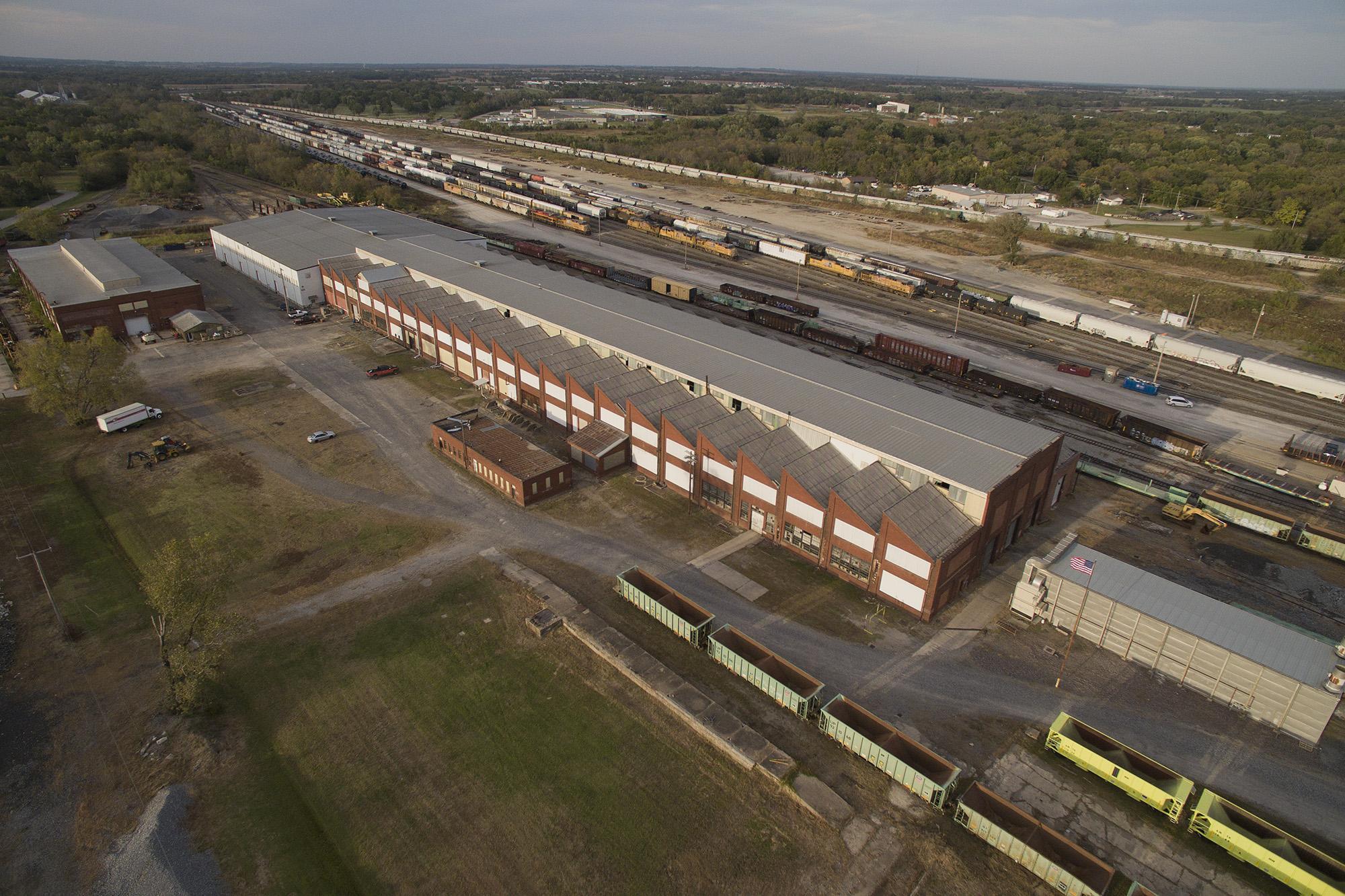 Train maintenance facility in Parsons, Kansas.. LP Photo Video. Omaha Photography.