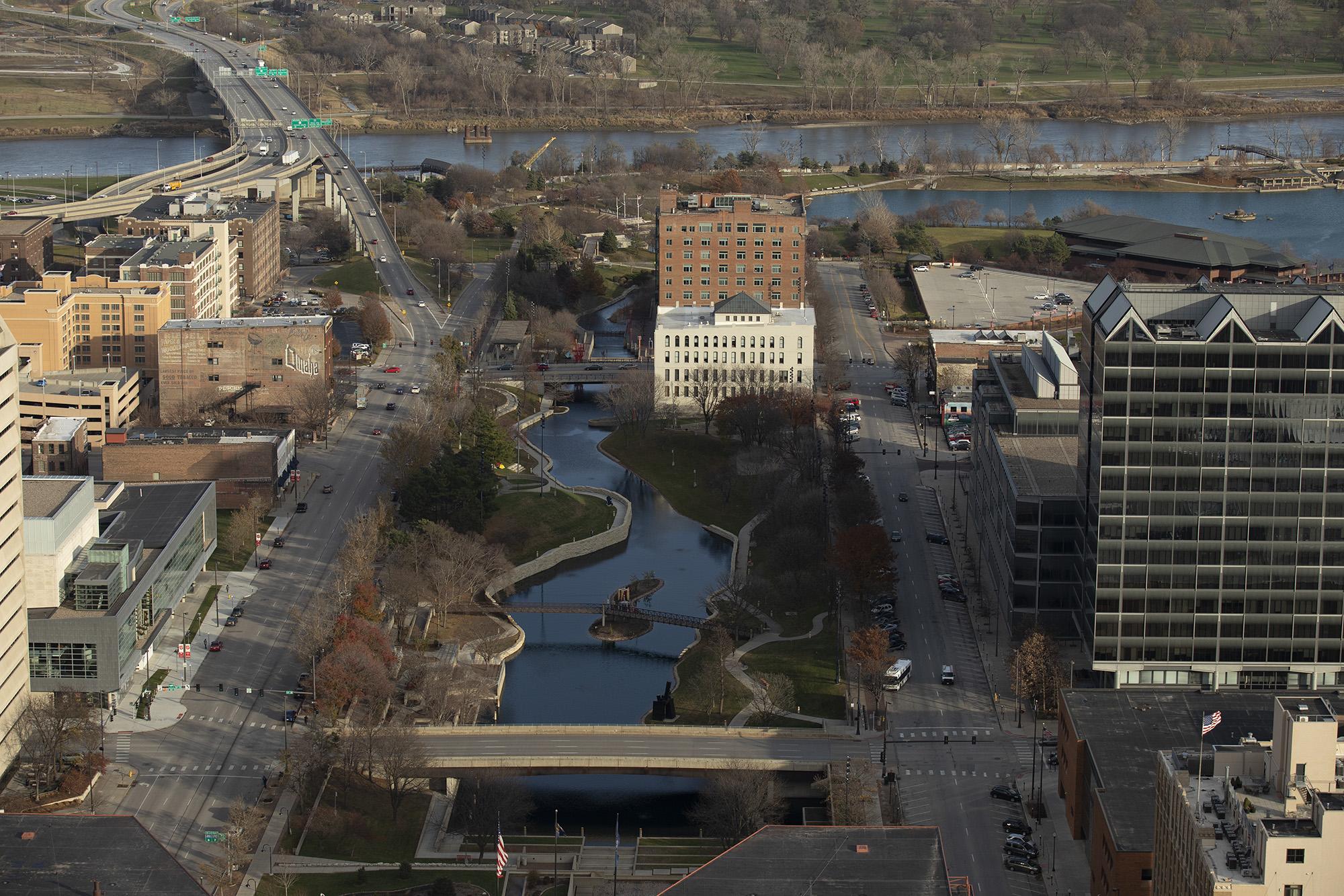 Aerial photo of downtown Omaha, Nebraska. LP Photo Video. Omaha Photography.