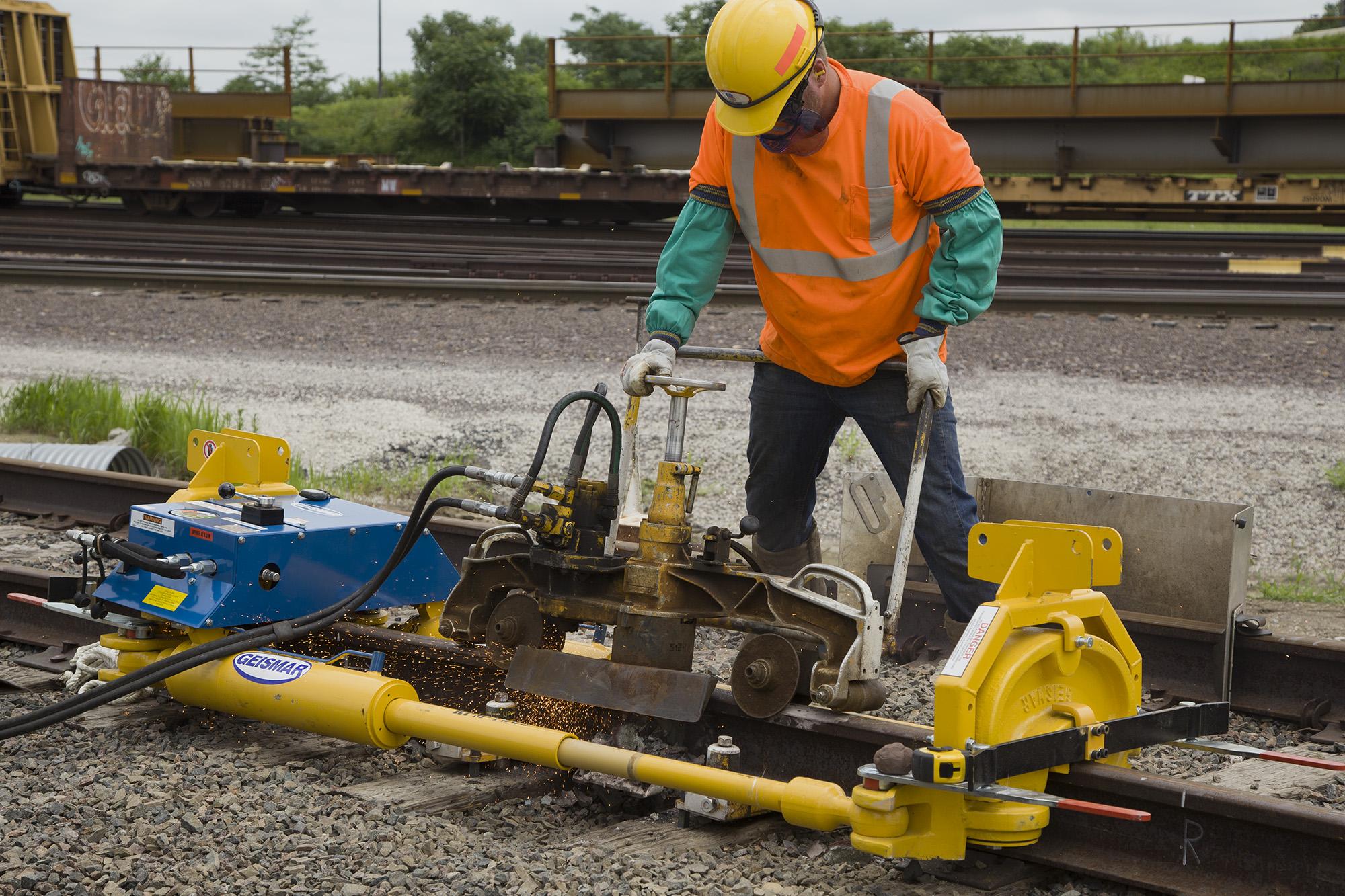 Union Pacific Railroad rail grinding. LP Photo Video. Omaha Photography.